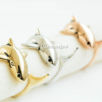 glazed vintage shark adjustable ring,animal ring,adjustable rings,cute ring,cool ring,couple ring,mens rings,unique ring,bridesmaid gift,AN1