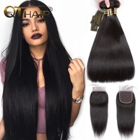 QT Hair Straight Hair Bundles with Closure Human Hair Bundles with Closure Brazilian Remy Hair Weave Bundles With Closure
