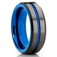 Blue Tungsten Ring - Blue Wedding Band - Gunmetal Tungsten Ring - Gray Ring
