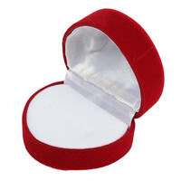 Velour Heart Shape Ring Jewelry Box