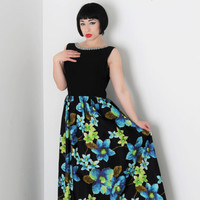 60s Blue & Green Watercolor Floral Maxi Black Dress w Silver Glitter Neckline and Sexy Scoop Back // Mad Men, Classic Chic Urban Style
