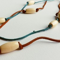 Brown & Turquoise Leather Necklace