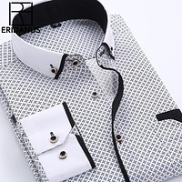 Big Size 4XL Men Dress Shirt New Arrival Long Sleeve Slim Fit Button Down Collar High Quality Printed Business Shirts M014