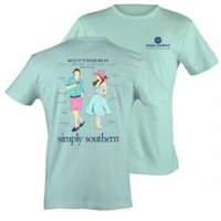 Preppy Date Tee by Simply Southern in Celedon. 100% cotton. Unisex - Runs bigger than normal size.BACK: