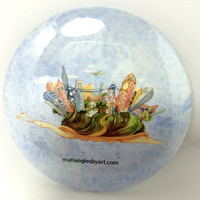 Snail With City on Back Watercolor Collectable Pin On Art Button, Happy Moving Snail Home On Back, Cute Snail Painting Collectors Art Button