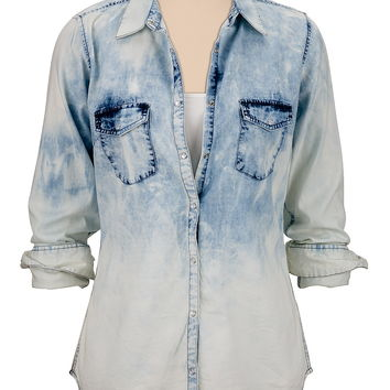Ombre washed denim shirt