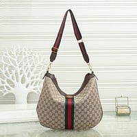 GG Womens Red and Green Striped Double G Shoulder Bag Messenger Bag-3