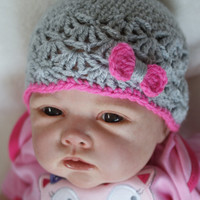 Baby Girl Newborn crochet Shell Pattern Grey Bow Spring Hat Summer Hat Flower Beanie Hat Photo Prop Hat
