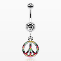 zzz-Rasta Stripe Peace Belly Ring