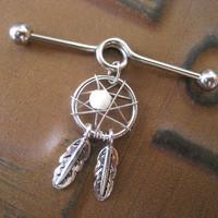 Industrial Piercing Barbell Dream Catcher Charm Dangle White Dreamcatcher 14 Gauge Bar