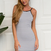 Simple Striped Backless Dress
