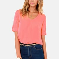 Plain as Day Coral Top