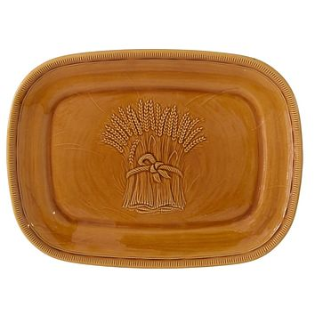 Vintage Farmhouse Wheat Platter Franciscan Pottery Light Gold Large 15 Inch