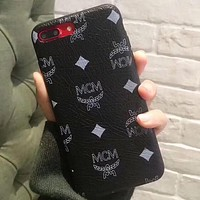 MCM new tide brand iPhoneX leather coat leather case phone case Black