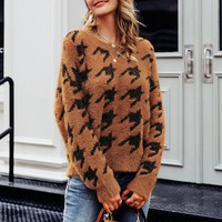 Houndstooth knitted mohair sweater women Casual soft female pullovers jumper O-neck ladies sweaters
