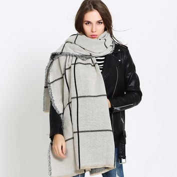 Thick Plaid  Cashmere Blanket Scarf