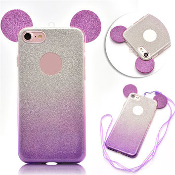 Newest 3D Mickey Mouse Ears Glitter phone Case For iphone 7 7 plus 6 plus 6s plus 6G 6s Cute Candy Gradient Soft TPU Cover