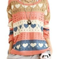 Contrast Color Love Hollow-out Rainbow Stripes Loose Sweater
