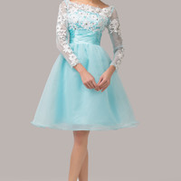 Pale Turquoise Mesh Lace Cutout Back Flounce Homecoming Dress