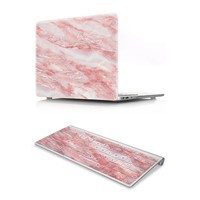 HRH 2 In1 Marble Red Laptop Body Shell Protective Hard Case Matching Rubber Keyboard Cover for MacBook Air Pro Retina11 12 13 15