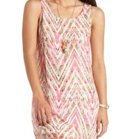 Floral-Chevron Strappy Back Shift Dress by Charlotte Russe - Coral