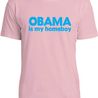 Obama Is My Homeboy (Blue) Mens Fine Jersey T-Shirt
