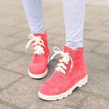 Fashion Women Ankle Boots for Autumn and Winter New Arrival Fur Lining Lace Up 7900