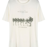 White Coconut Tree And Letter Print Oversized T-shirt