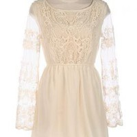 Safe and Sound Crochet Lace Mesh Long Sleeve Dress in Cream | Sincerely Sweet Boutique