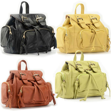 New leather backpack bags in summer Han edition ladies fashion head layer mini pocket satchel-Color Black