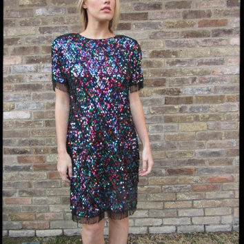 80s Oleg Cassini Sequined and Beaded Trophy Dress NWT