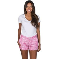 Print Scallop Shorts in Ruffle Some Feathers by Lauren James