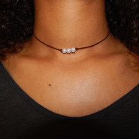 Leather Triple Pearl Choker Necklace