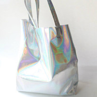 Holographic PU Leather Tote Handbag Shoulder bag for Women lady gift tote