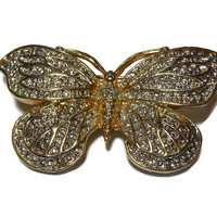 Butterfly brooch, gold with faux marcasite giving it a wonderful two tone look, very detailed with the veins, substantial piece