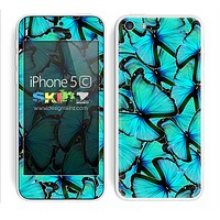 Butterfly Bundle Blue Accent Skin For The iPhone 5c