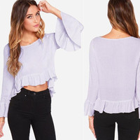 Plain Ruffled Sleeve Asymmetrical Shirt