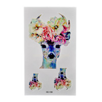 5pcs Waterproof Tattoo Sticker Flower Deer Head Temporary Tattoos Body Art