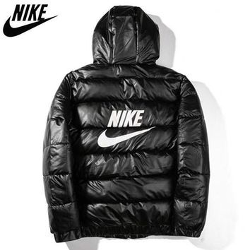 NIKE New fashion letter hook print hooded couple long sleeve coat cotton clothing
