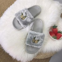 Pineapple Embroidered Fur Slipper Shoes