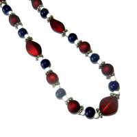 Red, White and Blue Beaded Necklace
