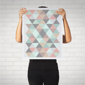Large Print Poster Mid Century Modern Geometric Abstract Art Pastel Triangles Hipster Retro Pink Mint Grey