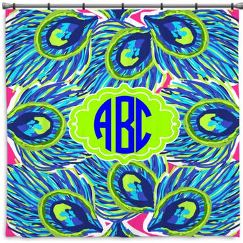 Monogrammed Lilly Pulitzer Inspired Shower Curtain