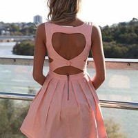 Light Pink Heart Cutout Dress with Fitted Bodice