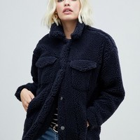 Monki teddy trucker jacket in navy | ASOS