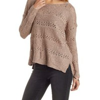 Scoop Neck Mixed Stitch Striped Pullover Sweater