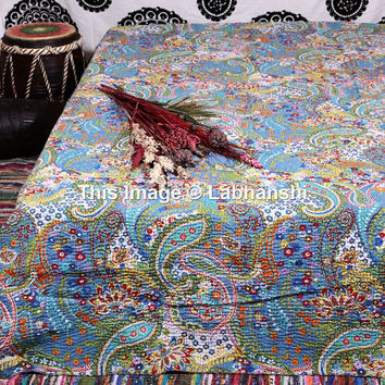 Kantha Quilt, Gray Queen Quilt, Sari Kantha Bedspread  Blanket, Indian Paisley Quilt, Queen Bedding, Queen Blanket, Queen Kantha Quilt Throw