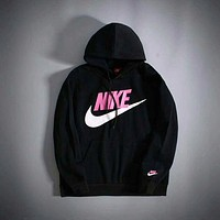 "N ""NIKE"" Women Men Fashion Print Hoodie Top Sweater Sweatshirt Coat Black"