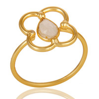 Rainbow Moonstone Art Deco 18K Gold Plated Sterling Silver Designer Ring