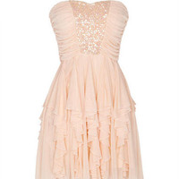 Sequin Ruched And Tiered Dress